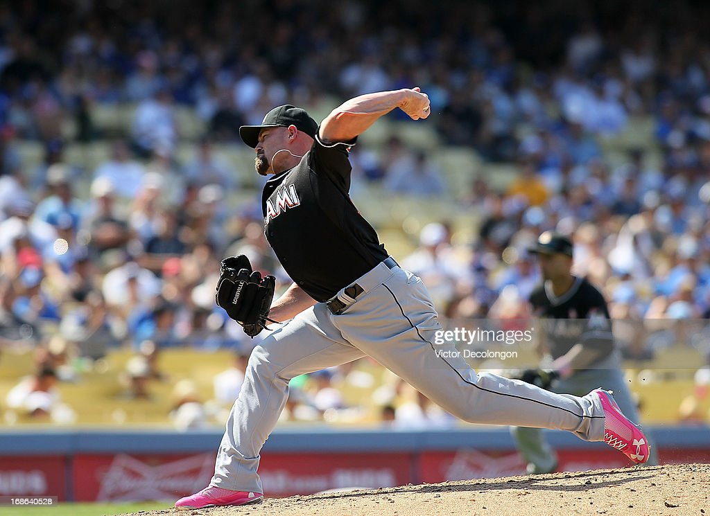 Pitcher Mike Dunn #40 of the Miami Marlins pitches in the seventh inning during the MLB game against the Los Angeles Dodgers at Dodger Stadium on May 12, 2013 in Los Angeles, California. The Dodgers defeated the Marlins 5-3.