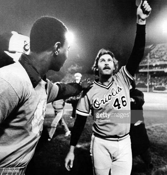 Pitcher Mike Flanagan of the Baltimore Orioles celebrates after Game 1 of the 1979 World Series against the Pittsburgh Pirates on October 10 1979 at...