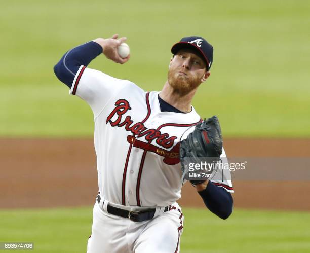 Pitcher Mike Foltynewicz of the Atlanta Braves throws a pitch in the first inning during the game against the Philadelphia Phillies at SunTrust Park...