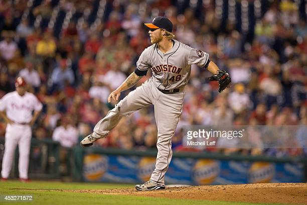 Pitcher Mike Foltynewicz of the Houston Astros throws a pitch in the bottom of the seventh inning against the Philadelphia Phillies on August 6 2014...