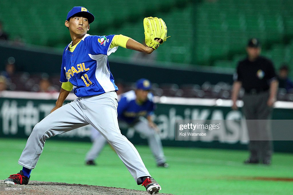 Pitcher Missaki of Brazil #13 in action during the World Baseball Classic First Round Group A game between China and Brazil at Fukuoka Yahoo! Japan Dome on March 5, 2013 in Fukuoka, Japan.