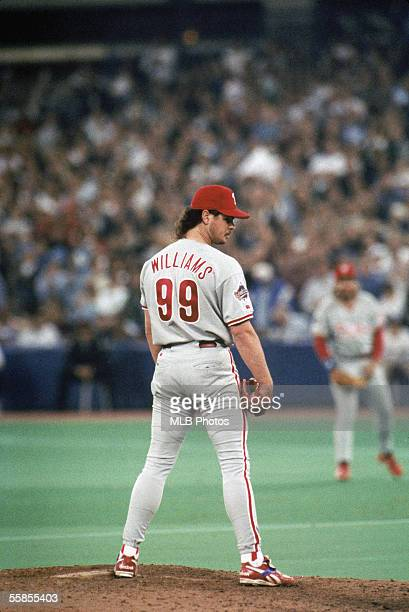 Pitcher Mitch Williams of the Philadelphia Phillies lines up the pitch during game six of the 1993 World Series against the Toronto Blue Jays at the...