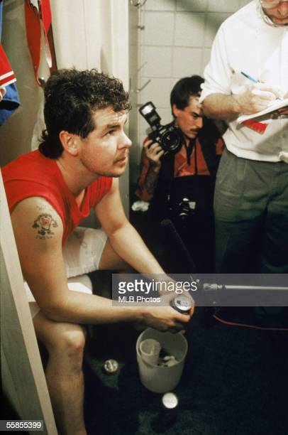 Pitcher Mitch Williams of the Philadelphia Phillies sits in the locker room after game six of the 1993 World Series against the Toronto Blue Jays at...