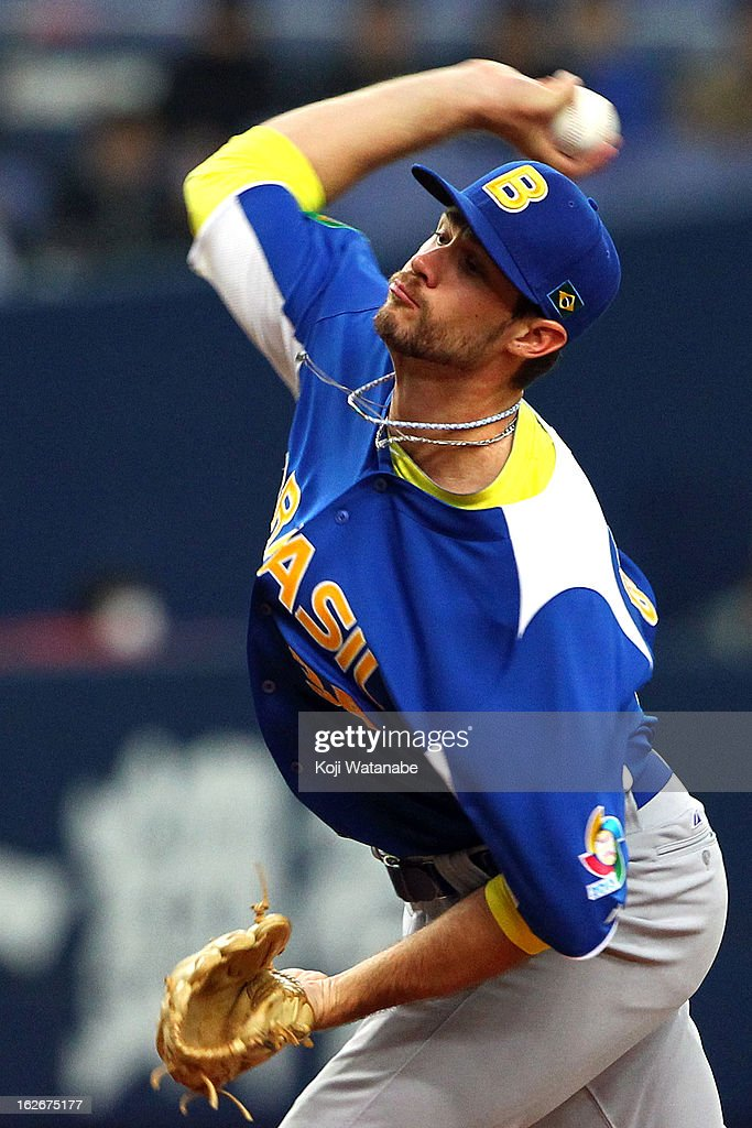 Pitcher Murilo Gouvea #34 of Brazil pitcher against Orix Buffaloes in the bottom half of the first inning during during the friendly game between Orix Buffaloes and Brazil at Kyocera Dome Osaka on February 26, 2013 in Osaka, Japan.