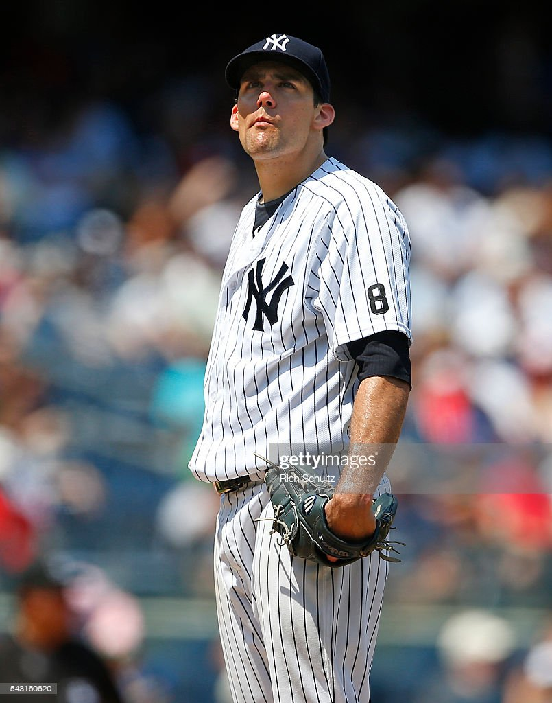Pitcher Nathan Eovaldi #30 of the New York Yankees reacts after giving up three consecutive home runs during the sixth inning against the Minnesota Twins at Yankee Stadium on June 26, 2016 in the Bronx borough of New York City.