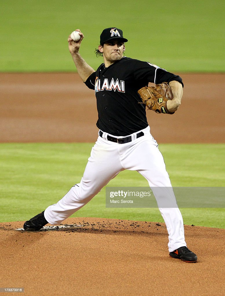 Pitcher Nathan Eovaldi #24 of theMiami Marlins throws against the Washington Nationals during the first inning at Marlins Park on July 12, 2013 in Miami, Florida.