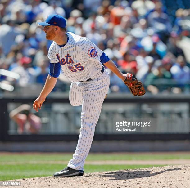 Pitcher Neil Ramirez of the New York Mets follows through on a pitch during an interleague MLB baseball game against the Los Angeles Angels on May 21...