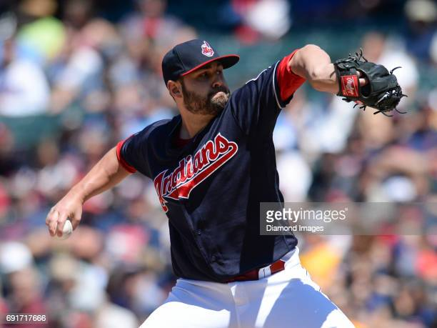 Pitcher Nick Goody of the Cleveland Indians throws a pitch during a game on June 1 2017 against the Oakland Athletics at Progressive Field in...