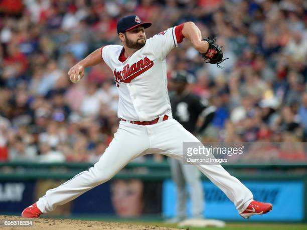 Pitcher Nick Goody of the Cleveland Indians throws a pitch in the fifth inning of a game on June 10 2017 against the Chicago White Sox at Progressive...