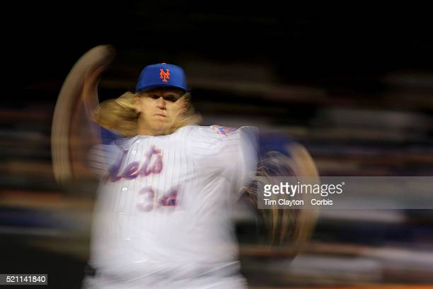 Pitcher Noah Syndergaard New York Mets pitching during the Miami Marlins Vs New York Mets MLB regular season ball game at Citi Field on April 12 2016...