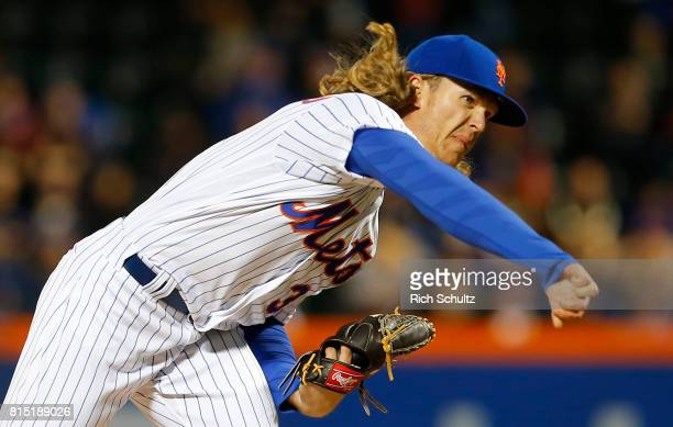 Pitcher Noah Syndergaard of the New York Mets delivers a pitch against the Miami Marlins during a game at Citi Field on April 9 2017 in New York City