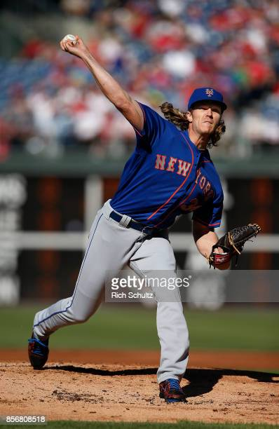 Pitcher Noah Syndergaard of the New York Mets delivers a pitch against the Philadelphia Phillies during the first inning of a game at Citizens Bank...