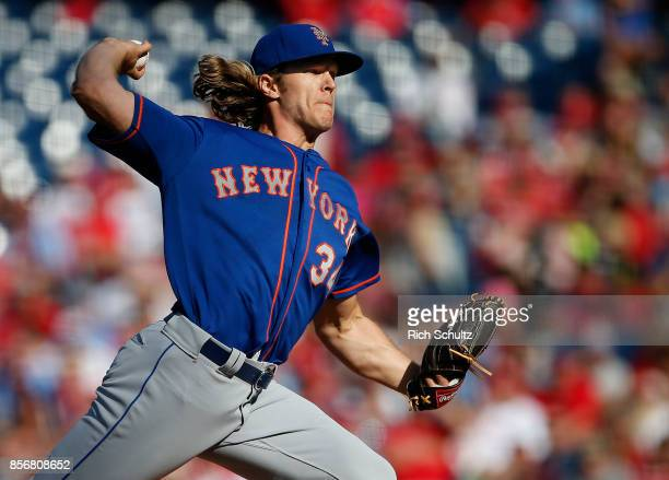 Pitcher Noah Syndergaard of the New York Mets delivers a pitch against the Philadelphia Phillies during the second inning of a game at Citizens Bank...