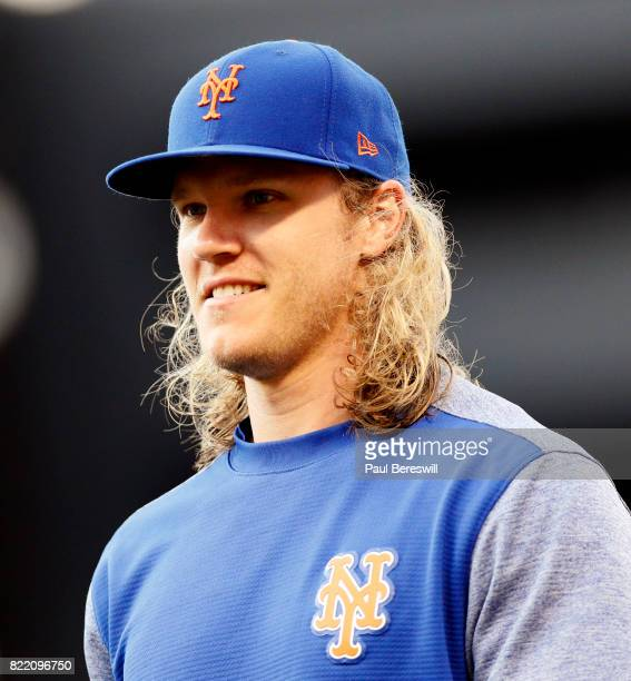 Pitcher Noah Syndergaard of the New York Mets walks to the dugout before an interleague MLB baseball game against the Oakland Athletics on July 21...