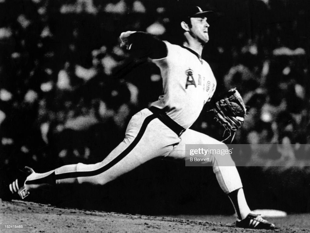 Pitcher <a gi-track='captionPersonalityLinkClicked' href=/galleries/search?phrase=Nolan+Ryan&family=editorial&specificpeople=202212 ng-click='$event.stopPropagation()'>Nolan Ryan</a> #30 of the California Angels pitches during Game 1 of the 1979 American League Division Series against the Baltimore Orioles on October 3, 1979 at Memorial Stadium in Baltimore, Maryland.