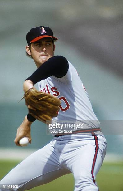 Pitcher Nolan Ryan of the California Angels pitches during the 1970s