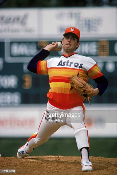 Pitcher Nolan Ryan of the Houston Astros on the mound during a 1980 Spring Training game against the Los Angeles Dodgers at Holman Stadium in Vero...