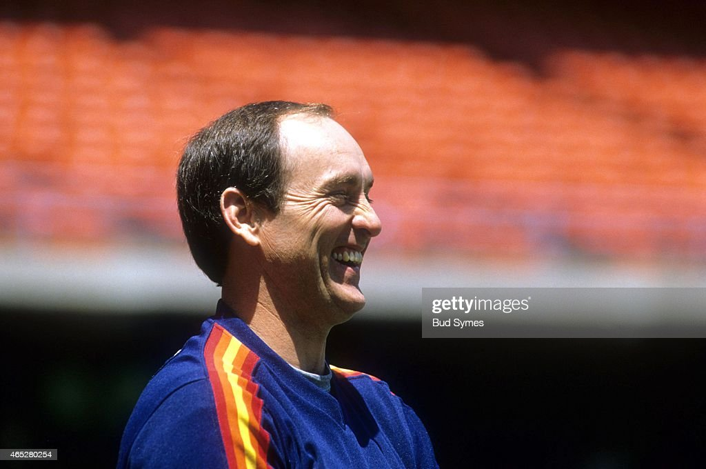 Pitcher <a gi-track='captionPersonalityLinkClicked' href=/galleries/search?phrase=Nolan+Ryan&family=editorial&specificpeople=202212 ng-click='$event.stopPropagation()'>Nolan Ryan</a> #34 of the Houston Astros smiles on the field before an MLB game against the Los Angeles Dodgers circa 1986 at Dodger Stadium in Los Angeles, California.