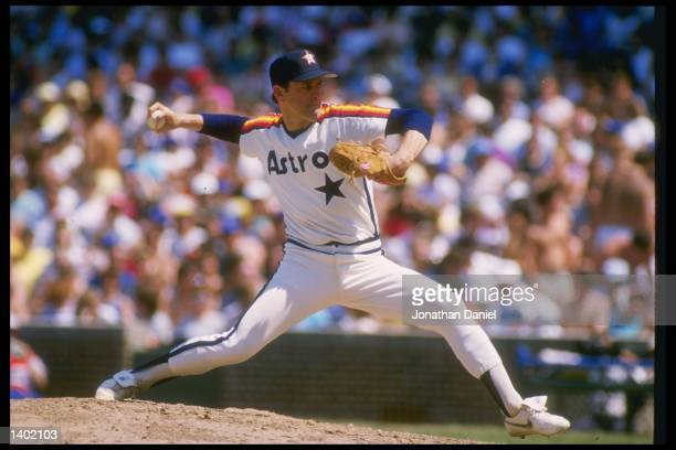 Pitcher Nolan Ryan of the Houston Astros throws a pitch during a game