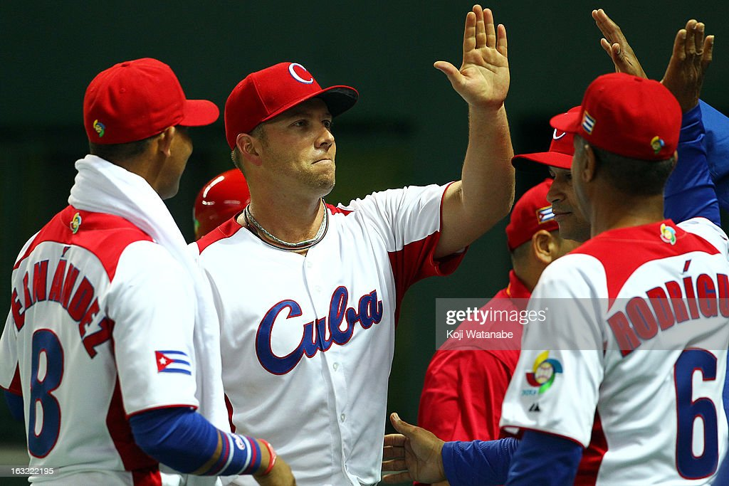 Pitcher Norberto Gonzalez #33 of Cuba celebrates during the World Baseball Classic First Round Group A game between Japan and Cuba at Fukuoka Yahoo! Japan Dome on March 6, 2013 in Fukuoka, Japan.