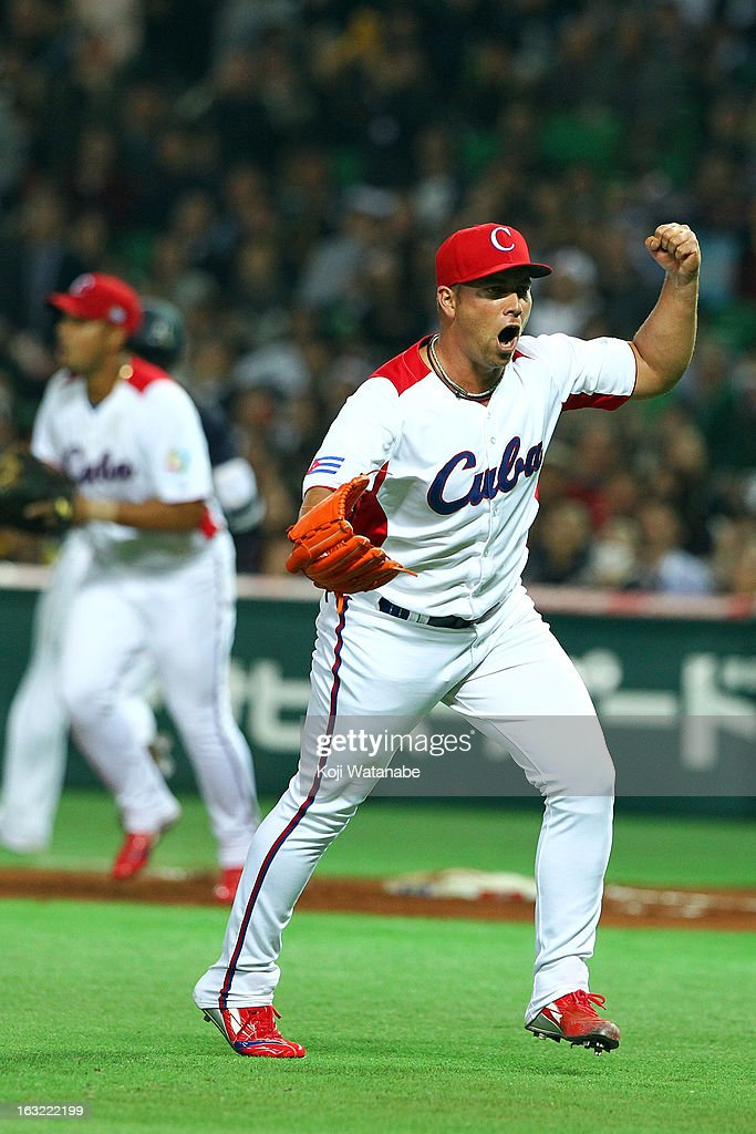 Pitcher <a gi-track='captionPersonalityLinkClicked' href=/galleries/search?phrase=Norberto+Gonzalez&family=editorial&specificpeople=797703 ng-click='$event.stopPropagation()'>Norberto Gonzalez</a> #33 of Cuba reacts during the World Baseball Classic First Round Group A game between Japan and Cuba at Fukuoka Yahoo! Japan Dome on March 6, 2013 in Fukuoka, Japan.