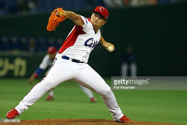 Pitcher Norberto Gonzalez#33 of Cuba pitches during the World Baseball Classic Second Round Pool 1 game between Chinese Taipei and Cuba at Tokyo Dome...