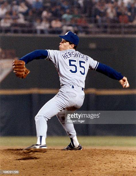 Pitcher Orel Hershiser of the Los Angeles Dodgers pitches during an MLB game against the San Diego Padres on September 28 1988 at Jack Murphy Stadium...