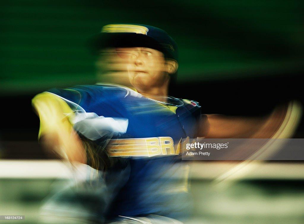 Pitcher <a gi-track='captionPersonalityLinkClicked' href=/galleries/search?phrase=Oscar+Nakaoshi&family=editorial&specificpeople=10520380 ng-click='$event.stopPropagation()'>Oscar Nakaoshi</a> #14 of Brazil pitches during the World Baseball Classic First Round Group A game between China and Brazil at Fukuoka Yahoo! Japan Dome on March 5, 2013 in Fukuoka, Japan.
