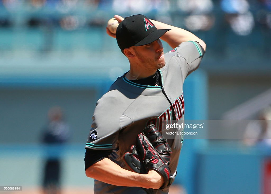 Pitcher Patrick Corbin of the Arizona Diamondbacks pitches in the first inning during the MLB game against the Los Angeles Dodgers at Dodger Stadium...