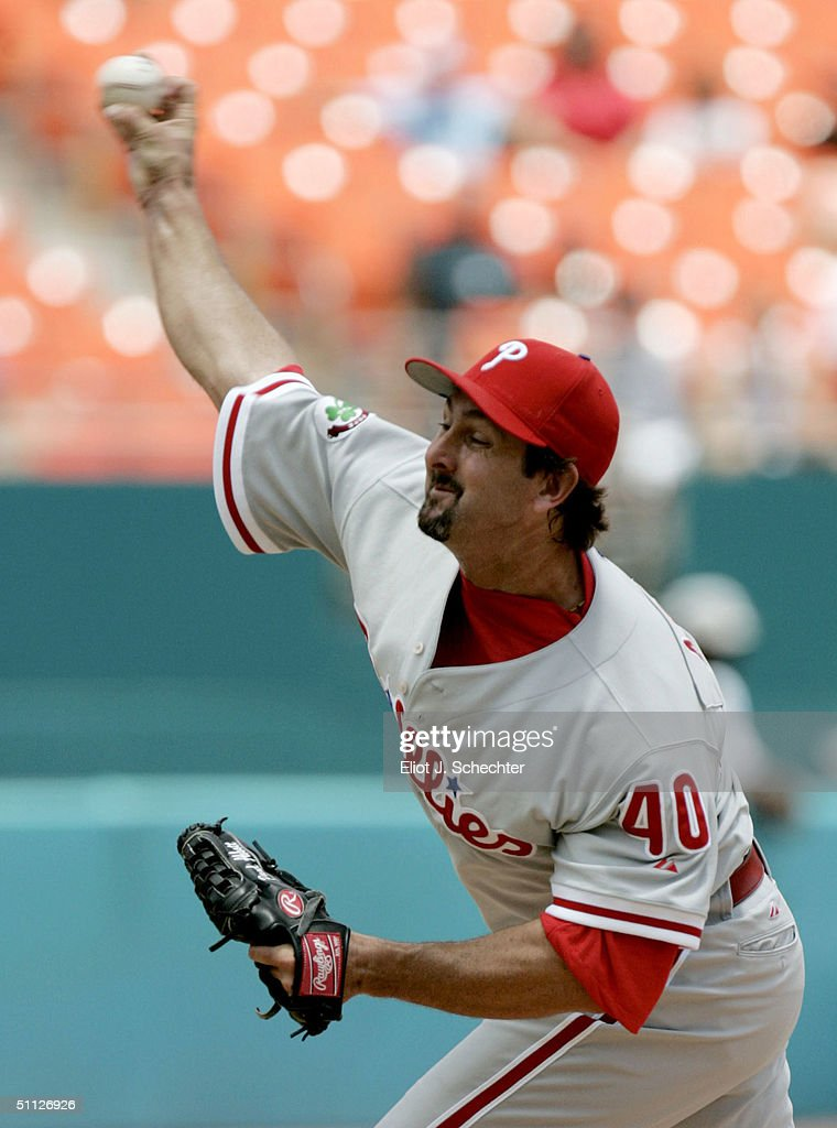 Pitcher Paul Abbott of the Philadelphia Phillies pitches against the Florida Marlins on July 29 2004 at Pro Player Stadium in Miami Florida