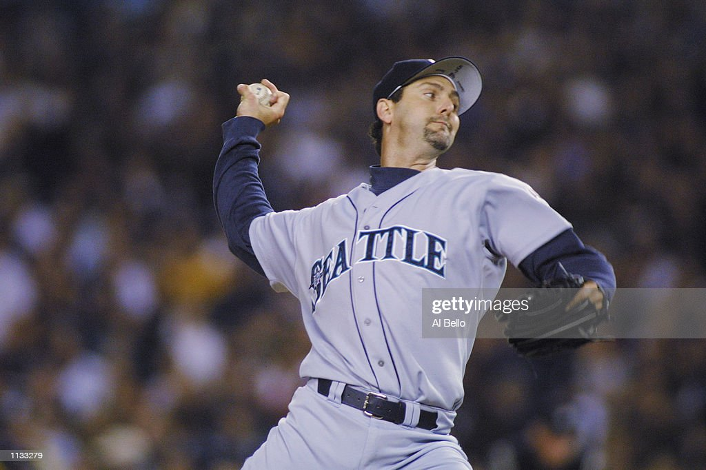 Pitcher Paul Abbott of the Seattle Mariners pitches against the New York Yankees during Game 4 of the American League Championship Series on October...