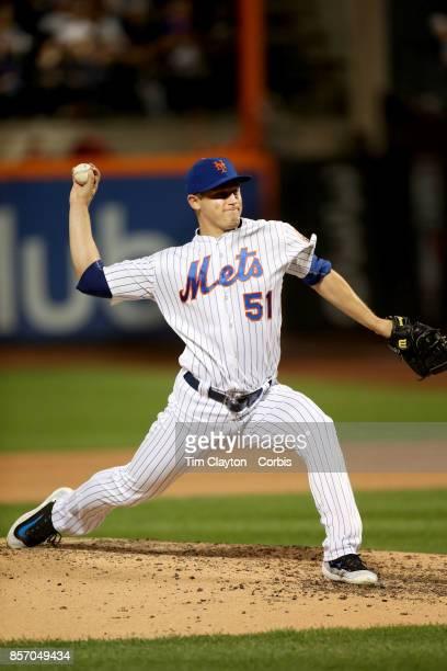 Pitcher Paul Sewald of the New York Mets pitching during the Washington Nationals Vs New York Mets MLB regular season game at Citi Field Flushing...