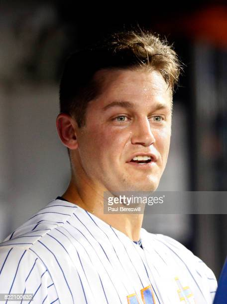 Pitcher Paul Sewald of the New York Mets reacts in the dugout during an interleague MLB baseball game against the Oakland Athletics on July 21 2017...