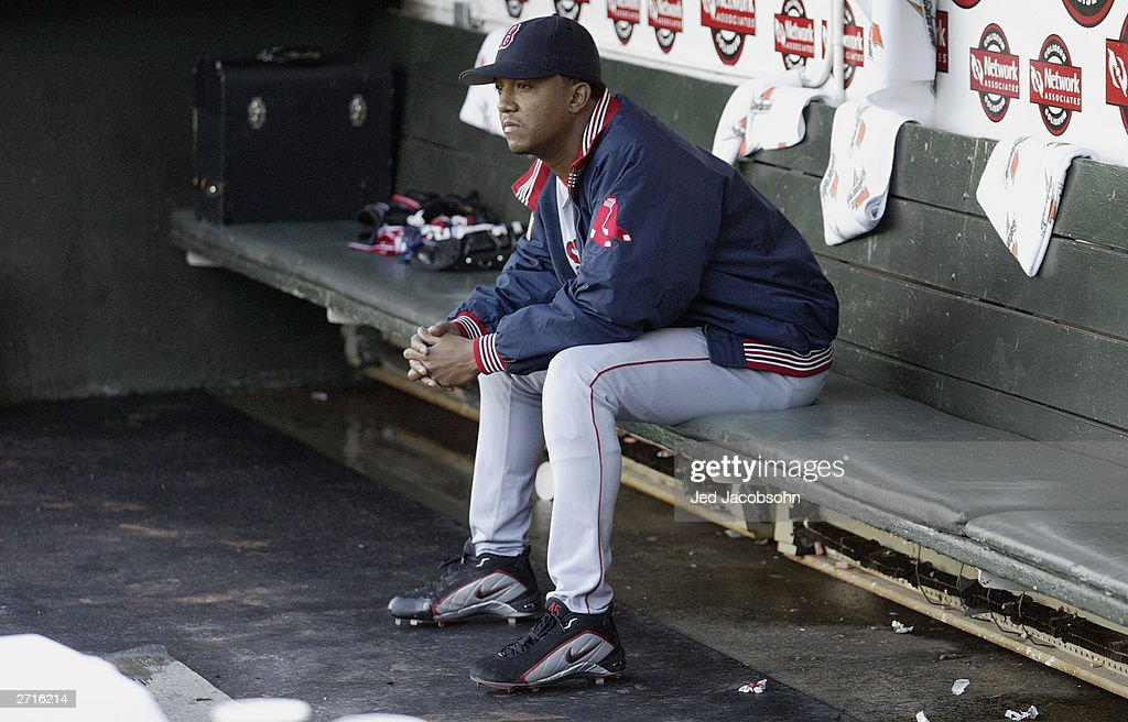 Pitcher Pedro Martinez #45 of the Boston Red Sox gets ready for the start of Game 5 of the 2003 American League Divisional Series against the Oakland A's on October 6, 2003 at Network Associates Coliseum in Oakland, California. The Red Sox defeated the A's 4-3.