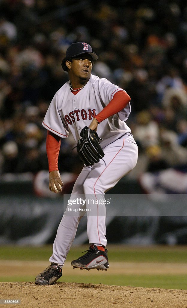 Pitcher <a gi-track='captionPersonalityLinkClicked' href=/galleries/search?phrase=Pedro+Martinez&family=editorial&specificpeople=171773 ng-click='$event.stopPropagation()'>Pedro Martinez</a> #45 of the Boston Red Sox on the mound during the game against the Baltimore Orioles on April 4, 2004 at Camden Yards in Baltimore, Maryland. The Orioles won 7-2.