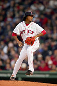 Pitcher Pedro Martinez of the Boston Red Sox throws a pitch against the New York Yankees in the second inning during game five of the American League...