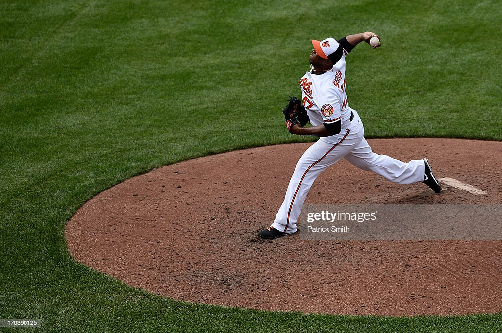 Pitcher Pedro Strop #47 of the Baltimore Orioles works the seventh inning against the Los Angeles Angels of Anaheim at Oriole Park at Camden Yards on June 12, 2013 in Baltimore, Maryland. The Los Angeles Angels of Anaheim won, 9-5.