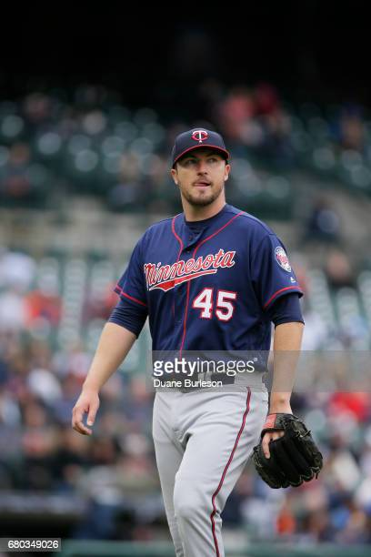 Pitcher Phil Hughes of the Minnesota Twins is leaves the game against the Detroit Tigers at Comerica Park on April 13 2017 in Detroit Michigan