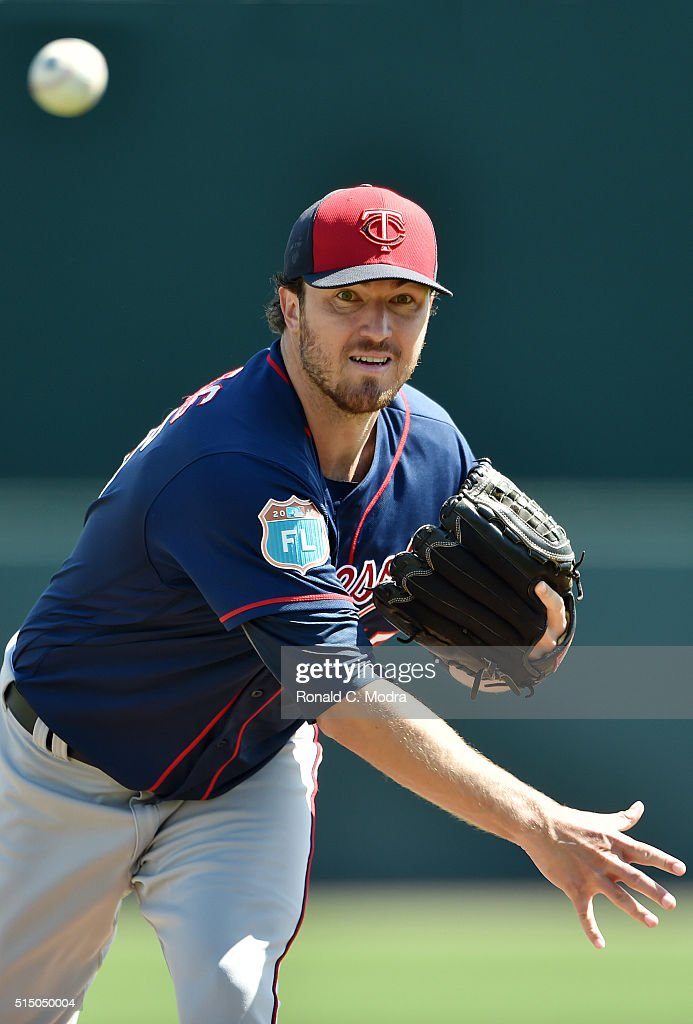 Pitcher <a gi-track='captionPersonalityLinkClicked' href=/galleries/search?phrase=Phil+Hughes+-+Baseball+Player&family=editorial&specificpeople=4292469 ng-click='$event.stopPropagation()'>Phil Hughes</a> #45 of the Minnesota Twins pitches during a spring training game against the Baltimore Orioles at Ed Smith Stadium on March 7, 2016 in Sarasota, Florida.