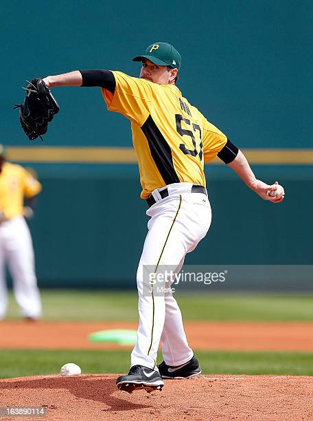 Pitcher Phil Irwin of the Pittsburgh Pirates pitches against the New York Yankees during a Grapefruit League Spring Training Game at McKechnie Field...