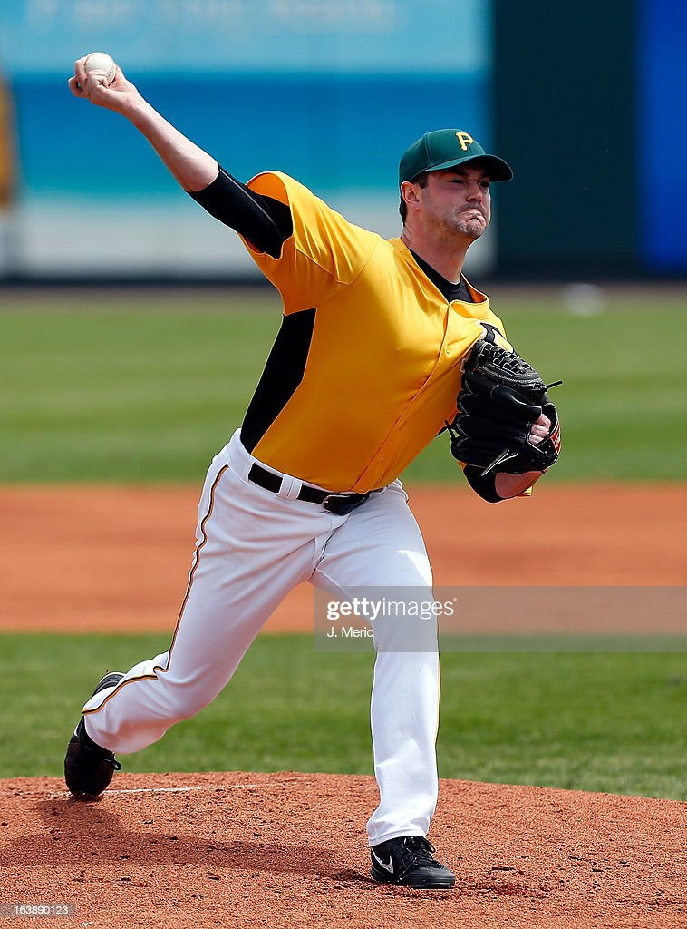 Pitcher Phil Irwin #57 of the Pittsburgh Pirates pitches against the New York Yankees during a Grapefruit League Spring Training Game at McKechnie Field on March 17, 2013 in Bradenton, Florida.