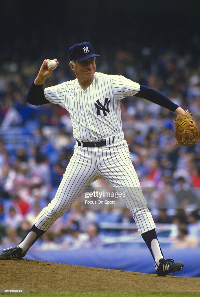 Pitcher Phil Niekro #35 of the New York Yankees pitches during a Major League Baseball game circa 1985 at Yankee Stadium in the Bronx borough of New York City. Niekro played for the Yankees from 1984-85.