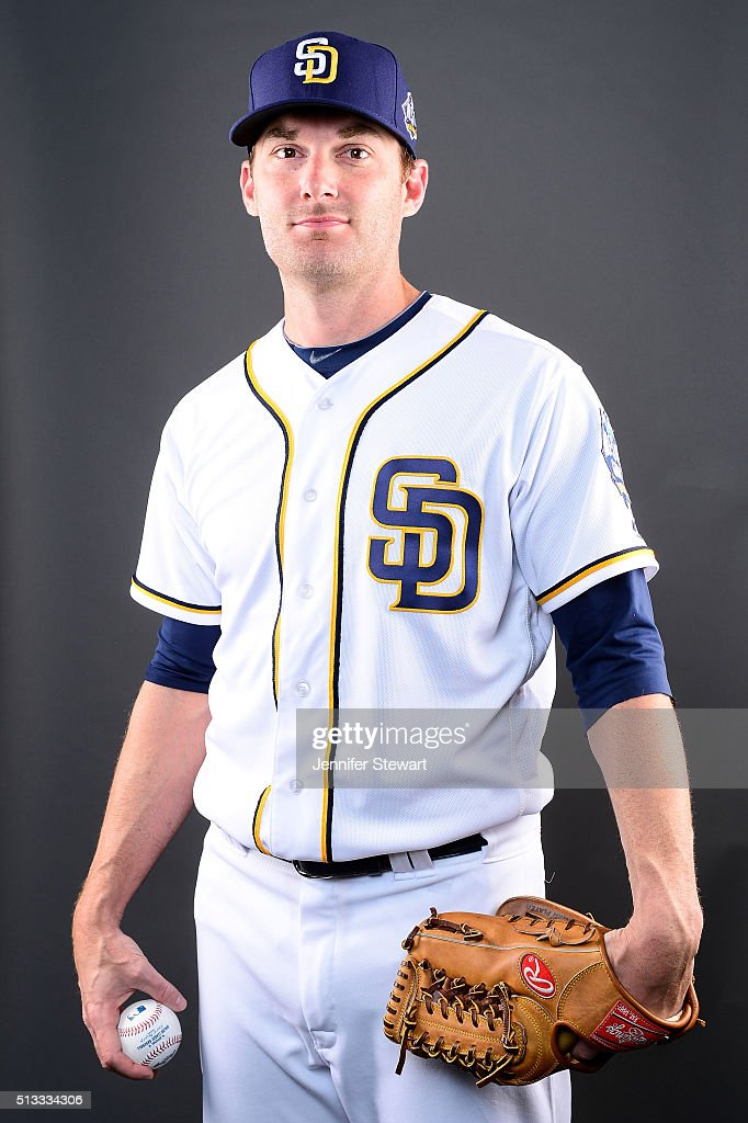 Pitcher <a gi-track='captionPersonalityLinkClicked' href=/galleries/search?phrase=Philip+Humber&family=editorial&specificpeople=836505 ng-click='$event.stopPropagation()'>Philip Humber</a> #53 of the San Diego Padres poses for a portrait during spring training photo day at Peoria Sports Complex on February 26, 2016 in Peoria, Arizona.