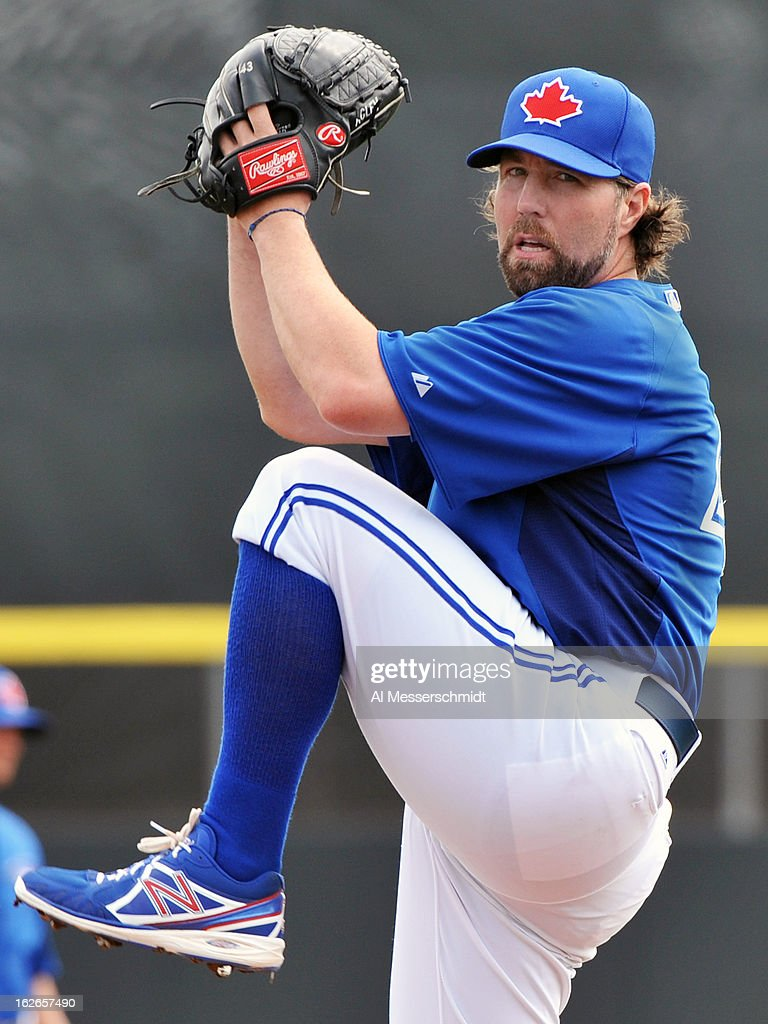 Pitcher R. A. Dickey #43 of the Toronto Blue Jays starts against the Boston Red Sox during a preason game February 25, 2013 at the Florida Auto Exchange Stadium in Dunedin, Florida.