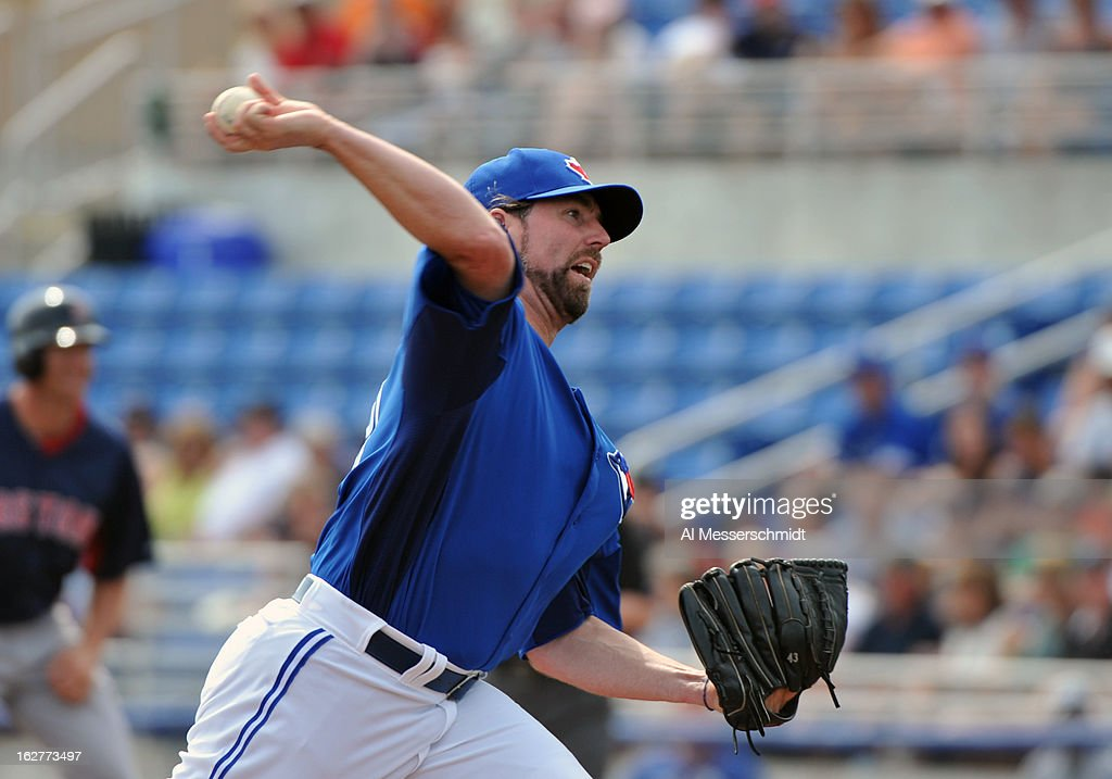 Pitcher R. A. Dickey #43 of the Toronto Blue Jays starts against the Boston Red Sox February 25, 2013 at the Florida Auto Exchange Stadium in Dunedin, Florida.