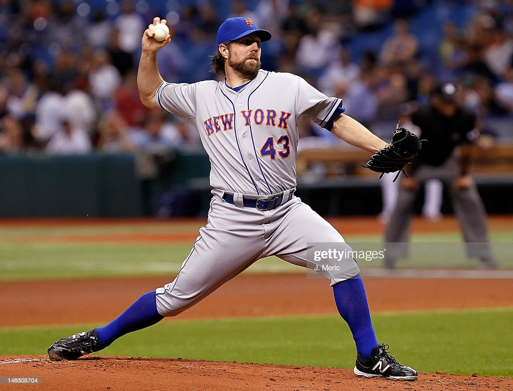Pitcher <a gi-track='captionPersonalityLinkClicked' href=/galleries/search?phrase=R.A.+Dickey&family=editorial&specificpeople=221719 ng-click='$event.stopPropagation()'>R.A. Dickey</a> #43 of the New York Mets pitches against the Tampa Bay Rays during the game at Tropicana Field on June 13, 2012 in St. Petersburg, Florida.