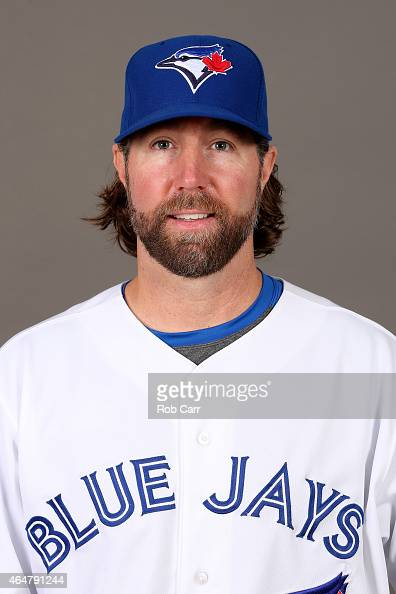 Pitcher RA Dickey of the Toronto Blue Jays poses on photo day on February 28 2015 in Dunedin Florida