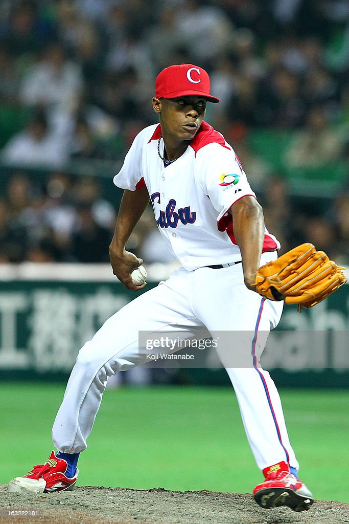 Pitcher Raciel Iglesias #28 of Cuba pitches during the World Baseball Classic First Round Group A game between Japan and Cuba at Fukuoka Yahoo! Japan Dome on March 6, 2013 in Fukuoka, Japan.