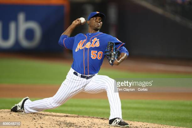 Pitcher Rafael Montero of the New York Mets pitching during the Miami Marlins Vs New York Mets regular season MLB game at Citi Field on August 19...