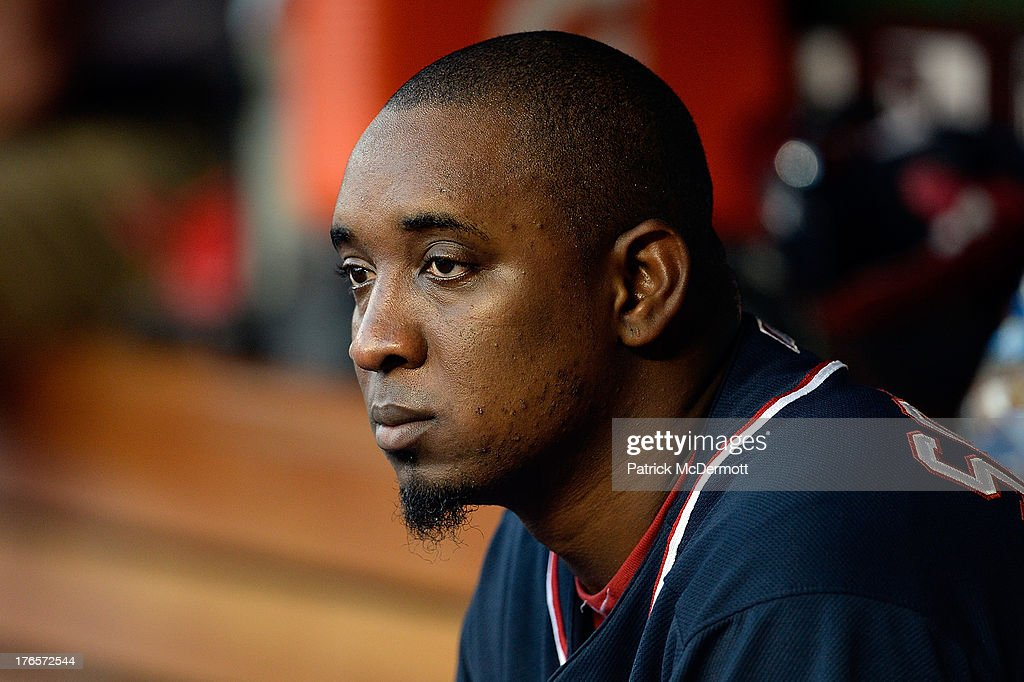 Pitcher <a gi-track='captionPersonalityLinkClicked' href=/galleries/search?phrase=Rafael+Soriano&family=editorial&specificpeople=587892 ng-click='$event.stopPropagation()'>Rafael Soriano</a> #29 of the Washington Nationals looks on from the dugout during the ninth inning of a game against the San Francisco Giants at Nationals Park on August 15, 2013 in Washington, DC.